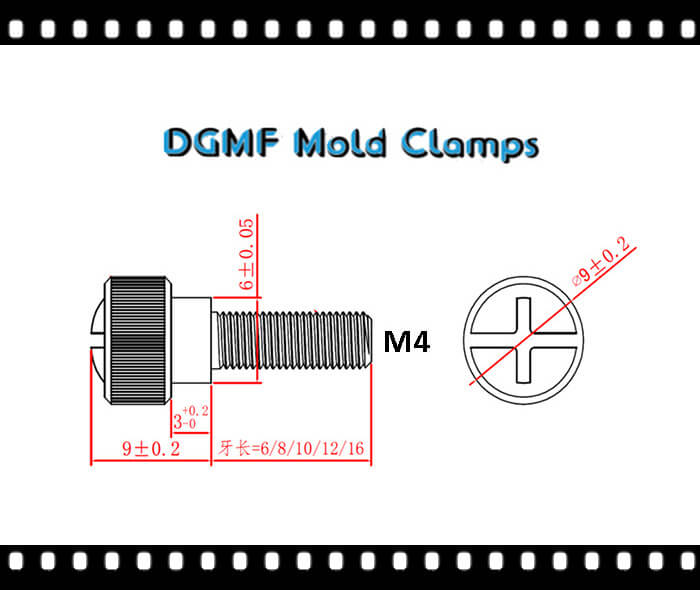 M4 Knurled Thumb Screws With Shoulder drawing