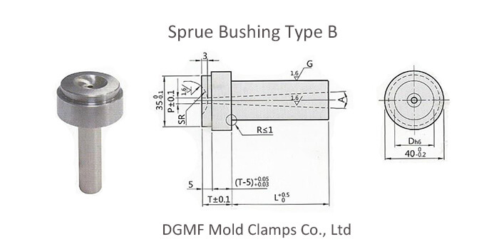 Mold Compenents sprue bushing type B drawing
