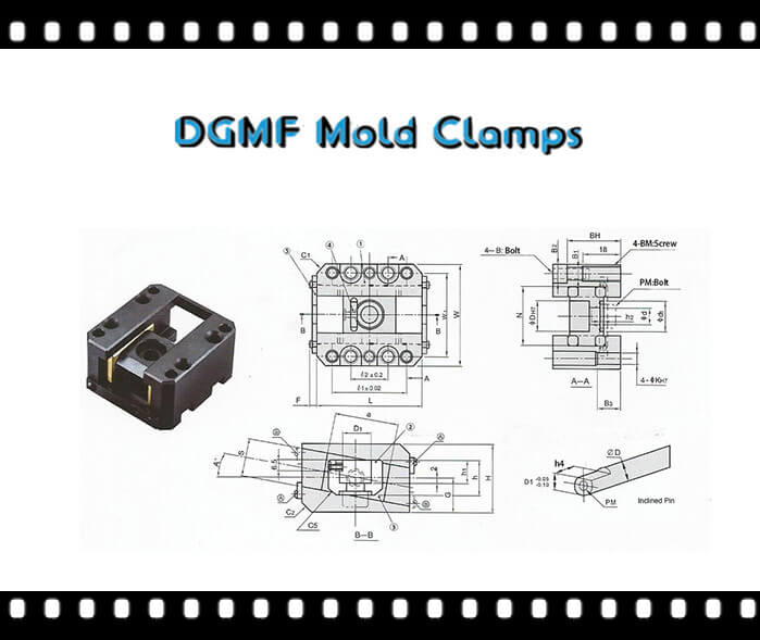 Standard Comoponents Lifter Pin Slide Core GUide Part DGMF-110 Drawing