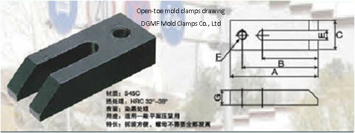 Open toe mold clamps drawing